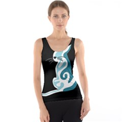 Blue abstract cat Tank Top