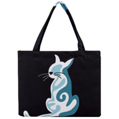 Blue abstract cat Mini Tote Bag