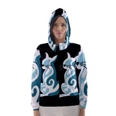 Blue abstract cat Hooded Wind Breaker (Women)