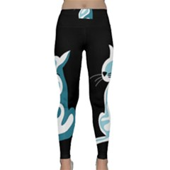 Blue abstract cat Classic Yoga Leggings