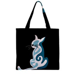 Blue abstract cat Zipper Grocery Tote Bag