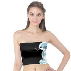 Blue abstract cat Tube Top