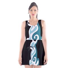 Blue abstract cat Scoop Neck Skater Dress