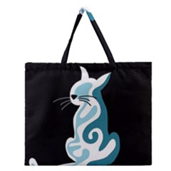 Blue abstract cat Zipper Large Tote Bag