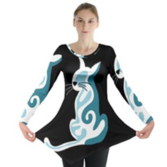 Blue abstract cat Long Sleeve Tunic