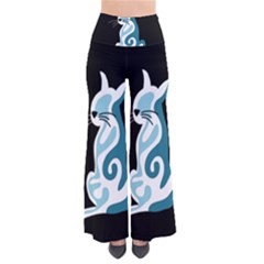 Blue abstract cat Pants
