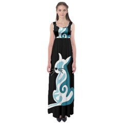 Blue abstract cat Empire Waist Maxi Dress