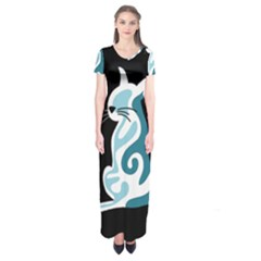 Blue Abstract Cat Short Sleeve Maxi Dress