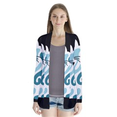 Blue abstract cat Cardigans