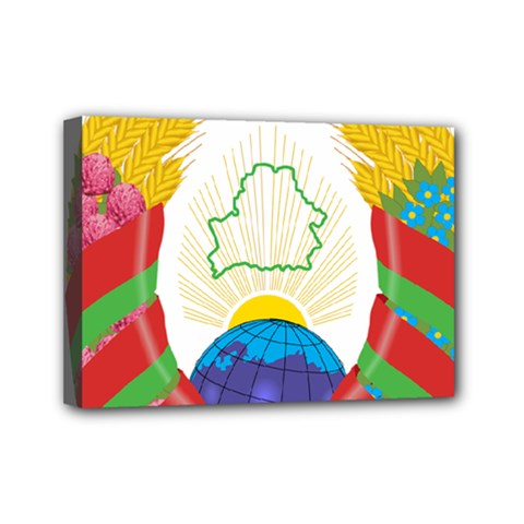 Coat of Arms of The Republic of Belarus Mini Canvas 7  x 5