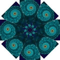 Dark Blue Turquoise Abstract Design Straight Umbrellas