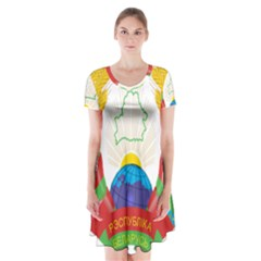 Coat of Arms of The Republic of Belarus Short Sleeve V-neck Flare Dress