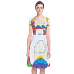 Coat of Arms of The Republic of Belarus Short Sleeve Front Wrap Dress