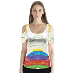 Coat Of Arms Of The Republic Of Belarus Butterfly Sleeve Cutout Tee