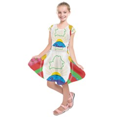 Coat of Arms of The Republic of Belarus Kids  Short Sleeve Dress
