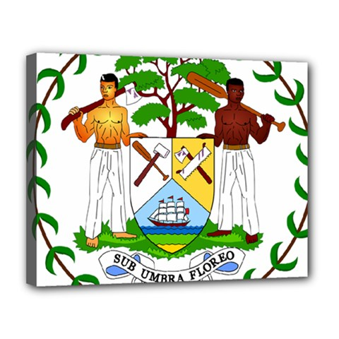 Coat of Arms of Belize Canvas 14  x 11