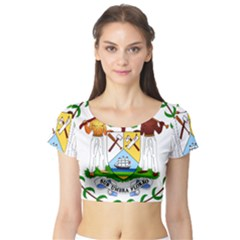 Coat of Arms of Belize Short Sleeve Crop Top (Tight Fit)