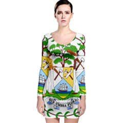 Coat of Arms of Belize Long Sleeve Bodycon Dress