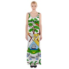 Coat of Arms of Belize Maxi Thigh Split Dress