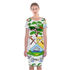 Coat of Arms of Belize Classic Short Sleeve Midi Dress