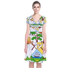 Coat Of Arms Of Belize Short Sleeve Front Wrap Dress