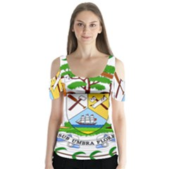 Coat of Arms of Belize Butterfly Sleeve Cutout Tee