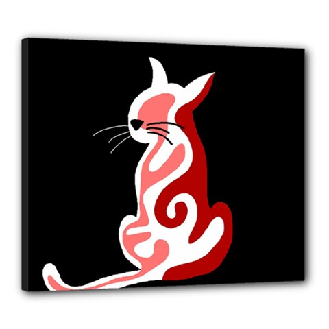 Red abstract cat Canvas 24  x 20