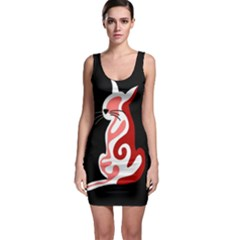 Red abstract cat Sleeveless Bodycon Dress