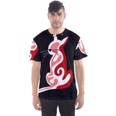 Red abstract cat Men s Sport Mesh Tee