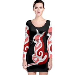 Red abstract cat Long Sleeve Bodycon Dress