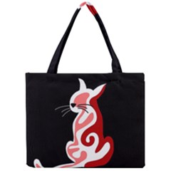Red abstract cat Mini Tote Bag