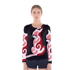 Red abstract cat Women s Long Sleeve Tee