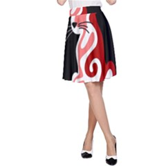 Red abstract cat A-Line Skirt