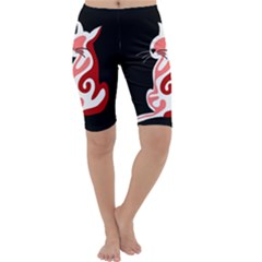 Red abstract cat Cropped Leggings