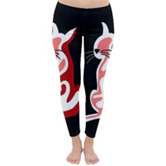 Red abstract cat Classic Winter Leggings