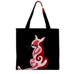 Red abstract cat Zipper Grocery Tote Bag
