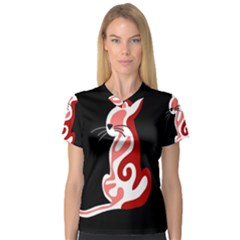 Red abstract cat Women s V-Neck Sport Mesh Tee