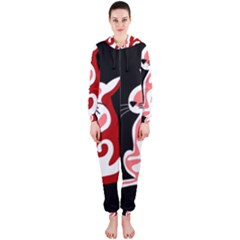 Red abstract cat Hooded Jumpsuit (Ladies)