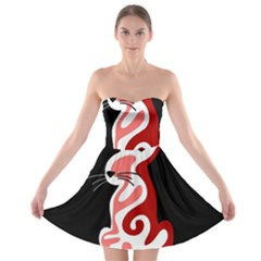 Red Abstract Cat Strapless Bra Top Dress