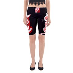 Red abstract cat Yoga Cropped Leggings