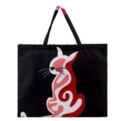 Red abstract cat Zipper Large Tote Bag
