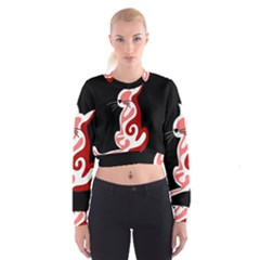 Red abstract cat Women s Cropped Sweatshirt