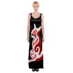 Red abstract cat Maxi Thigh Split Dress