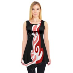 Red abstract cat Sleeveless Tunic