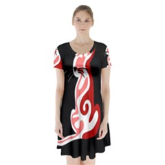 Red abstract cat Short Sleeve V-neck Flare Dress