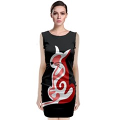 Red abstract cat Classic Sleeveless Midi Dress