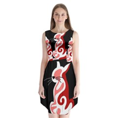 Red Abstract Cat Sleeveless Chiffon Dress