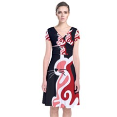 Red abstract cat Short Sleeve Front Wrap Dress