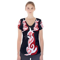Red abstract cat Short Sleeve Front Detail Top