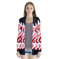 Red abstract cat Cardigans